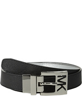 MICHAEL Michael Kors - 25mm Reversible Saffiano to Metallic Saffiano on MK Cutout Harness Buckle Belt