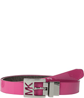 MICHAEL Michael Kors - 25mm Reversible Patent to Logo PVC on MK Cutout Harness Buckle Belt