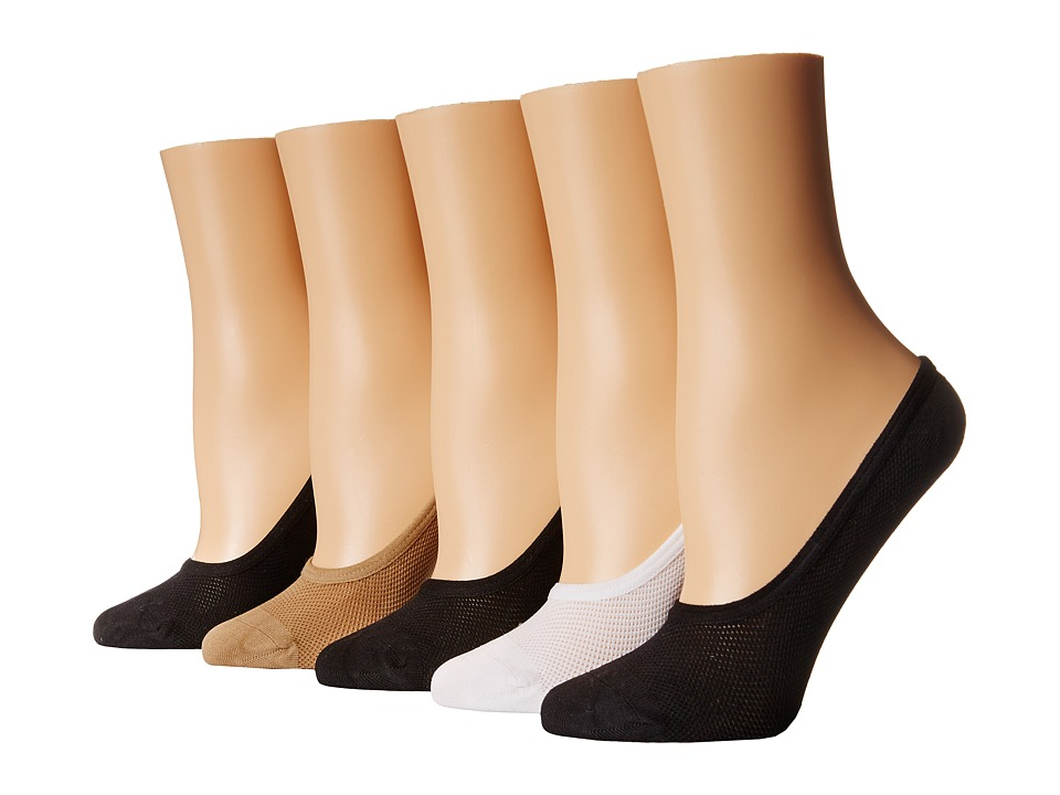 Steve Madden 5 Pack Black/Nude Mesh Footie Black/Nude/White Womens No Show Socks Shoes