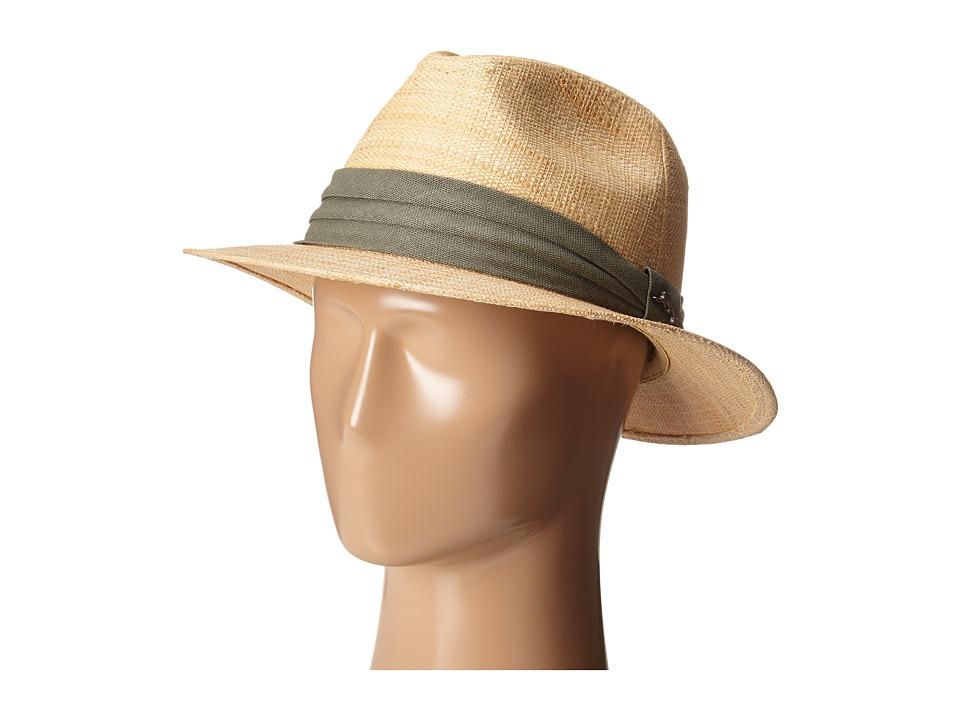 Tommy Bahama - Matte Raffia Safari with 3 Pleat Cotton Band (Natural) Safari Hats