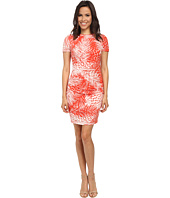Vince Camuto - Short Sleeve Palm Leave Printed Jersey Bodycon w/ Ruching