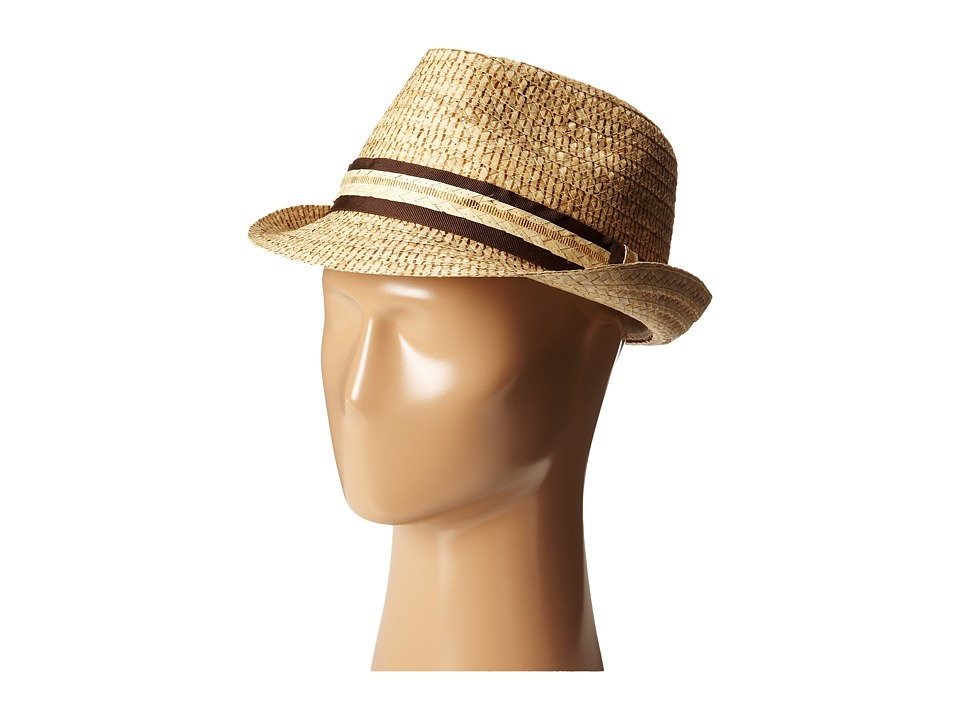 Tommy Bahama - Burned Raffia Fedora with Overlay Band X (Natural) Fedora Hats