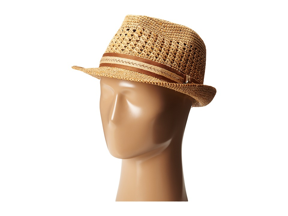 Tommy Bahama - Vent Crochet Raffia Fedora (Tea 1) Fedora Hats