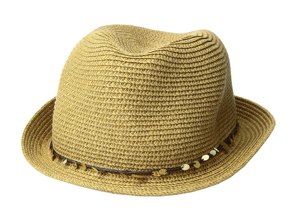 Tommy Bahama - Paper Braid Fedora with Sequins Trim (Toast) Fedora Hats