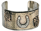 Gypsy SOULE Horseshoe Roses Hammered Silver Cuff (Silver)