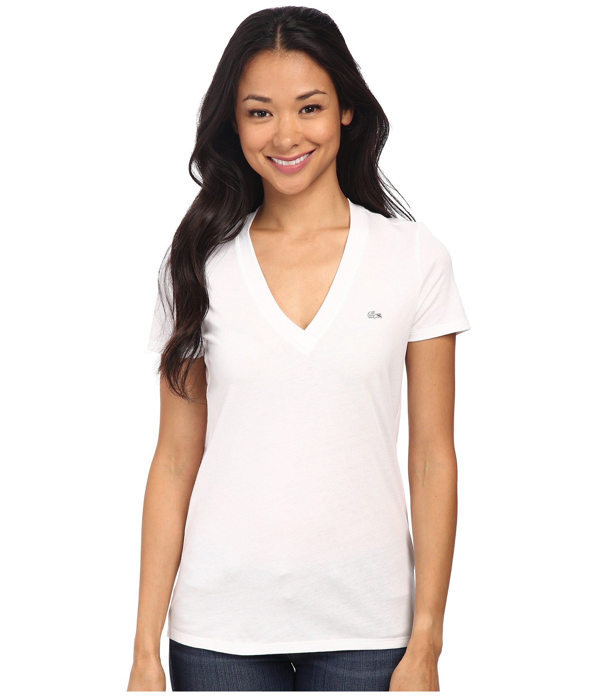 lacoste short sleeve cotton jersey v neck tee shirt white. Black Bedroom Furniture Sets. Home Design Ideas