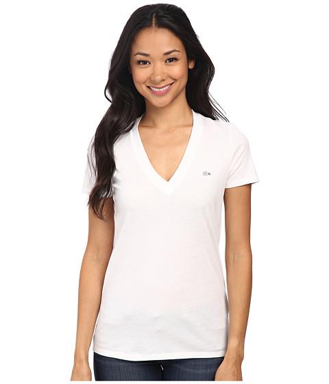 Lacoste Short Sleeve Cotton Jersey V-Neck Tee Shirt - White