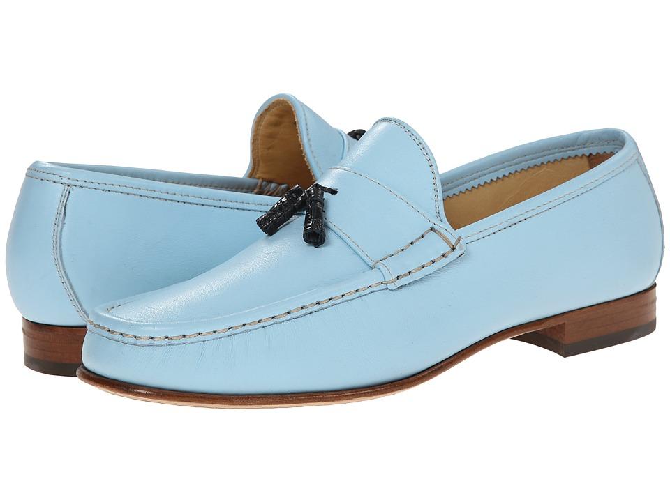 Massimo Matteo - Leather Tassel Croc Loafer Blue Mens Slip on  Shoes $159.00 AT vintagedancer.com