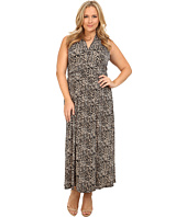 Vince Camuto Plus - Plus Size Serengeti Tribal Leopard Halter Maxi Dress