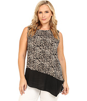 Vince Camuto Plus - Plus Size Serengeti Sleeveless Tribal Leopard Mix Med Top w/ Asymmetrical Hem
