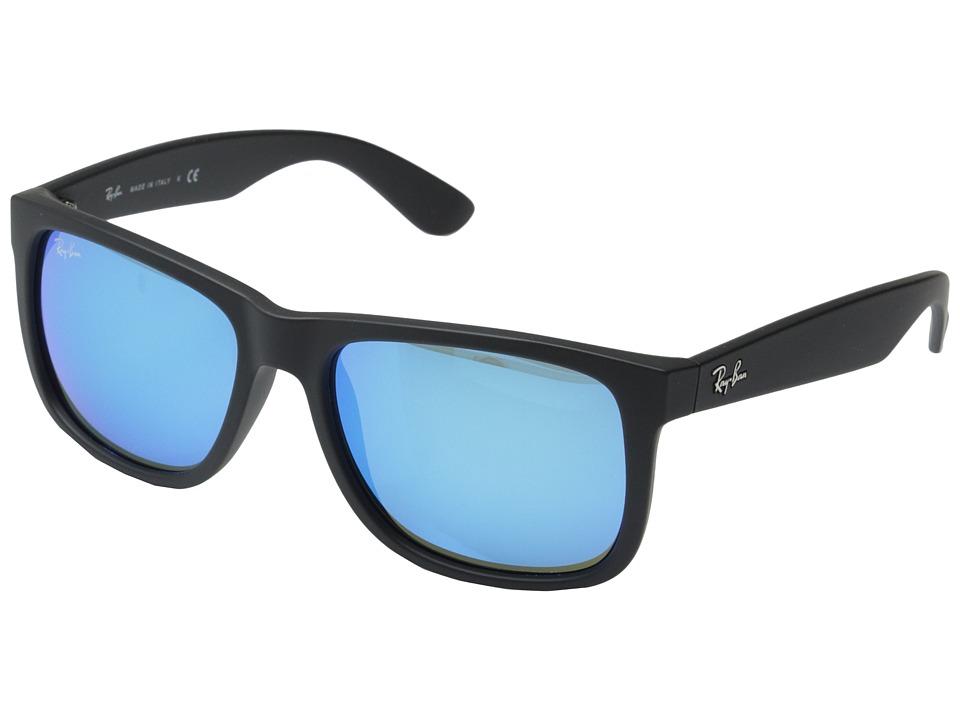 Ray-Ban RB4165 55mm (Black Rubberized/Green Blue Mirror) Fashion Sunglasses