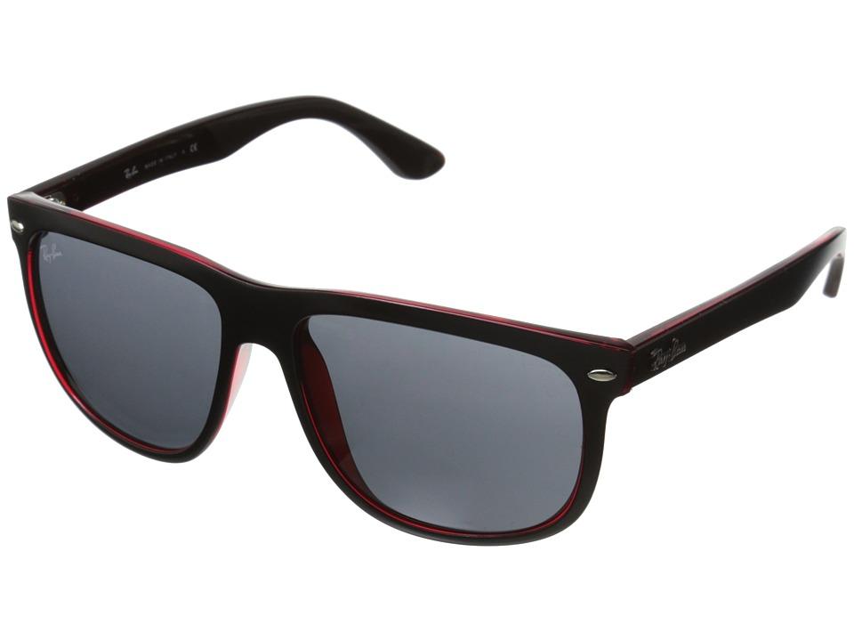 Ray-Ban Flatop Boyfriend (Black Matte on Red Transparent/Dark Gray) Fashion Sunglasses