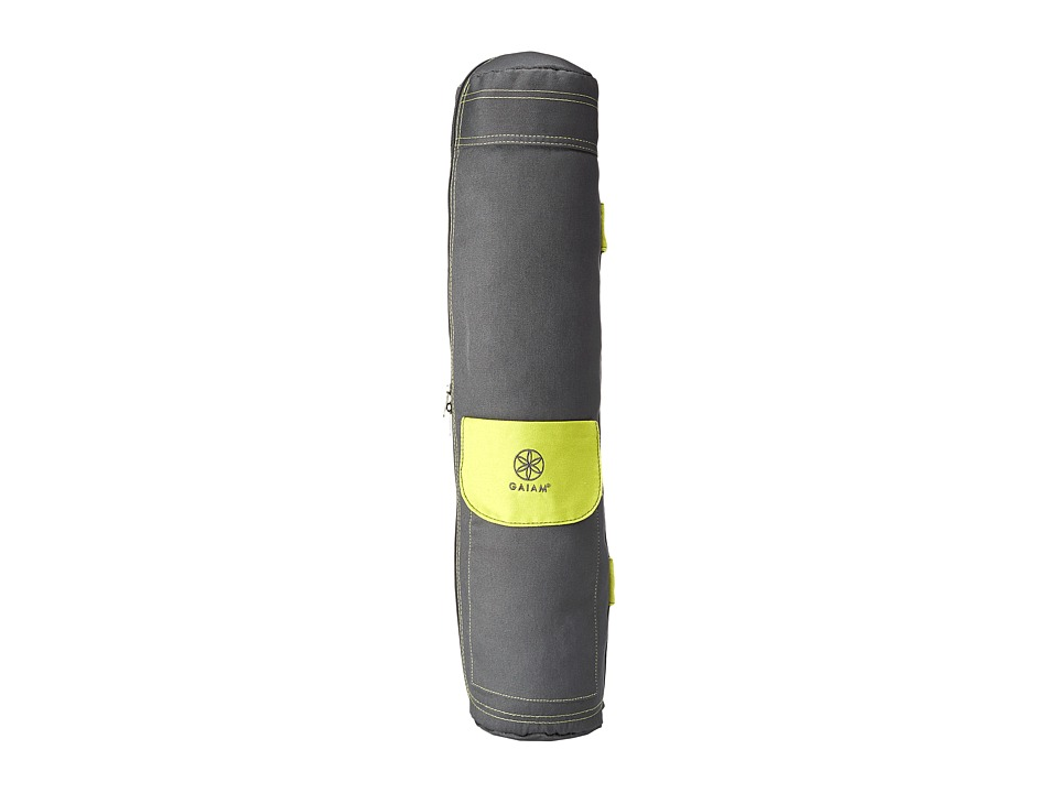 Gaiam Full Zip Cargo Pocket Yoga Mat Bag Citron Storm Athletic Sports Equipment
