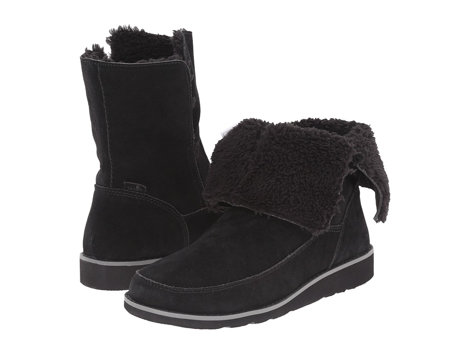 Sanuk Drop Top Suede Black Womens Pull on Boots