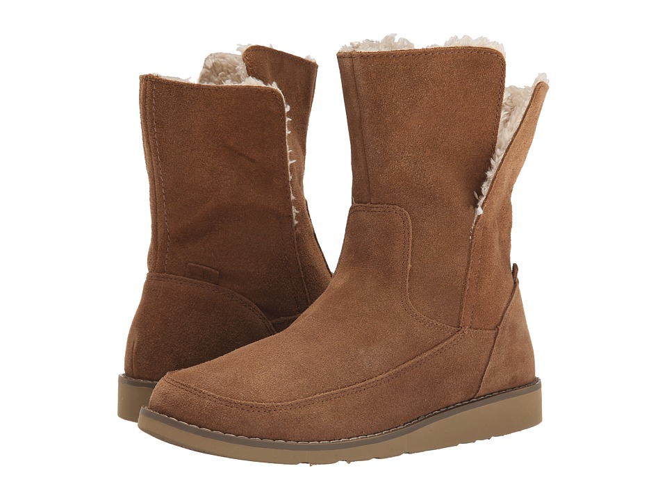 Sanuk Drop Top Suede Chestnut Womens Pull on Boots