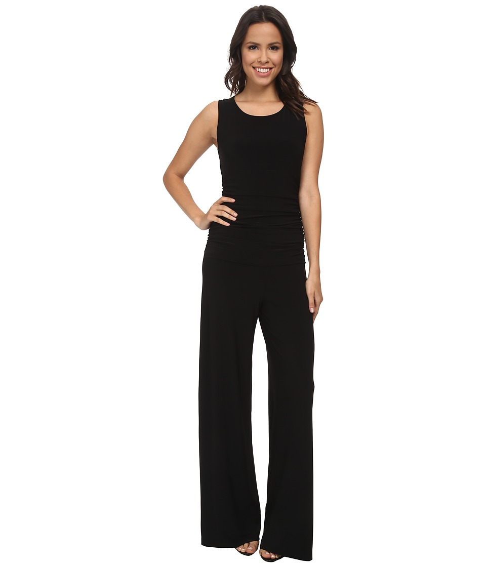 KAMALIKULTURE by Norma Kamali - Sleeveless Shirred Waist Jumpsuit (Black) Womens Jumpsuit & Rompers One Piece
