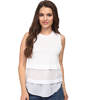 MICHAEL Michael Kors - Petite Sleeveless Crew Woven Mix Top