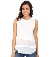 MICHAEL Michael Kors - Sleeveless Crew Woven Mix Top