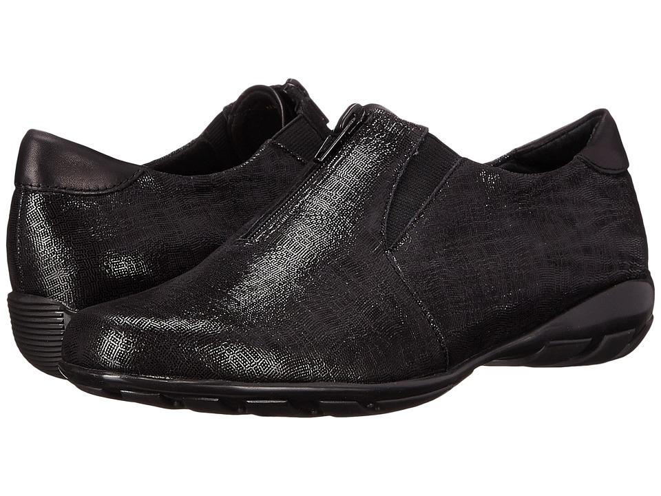 Vaneli Armida Black Trama Print Womens Slip on Shoes