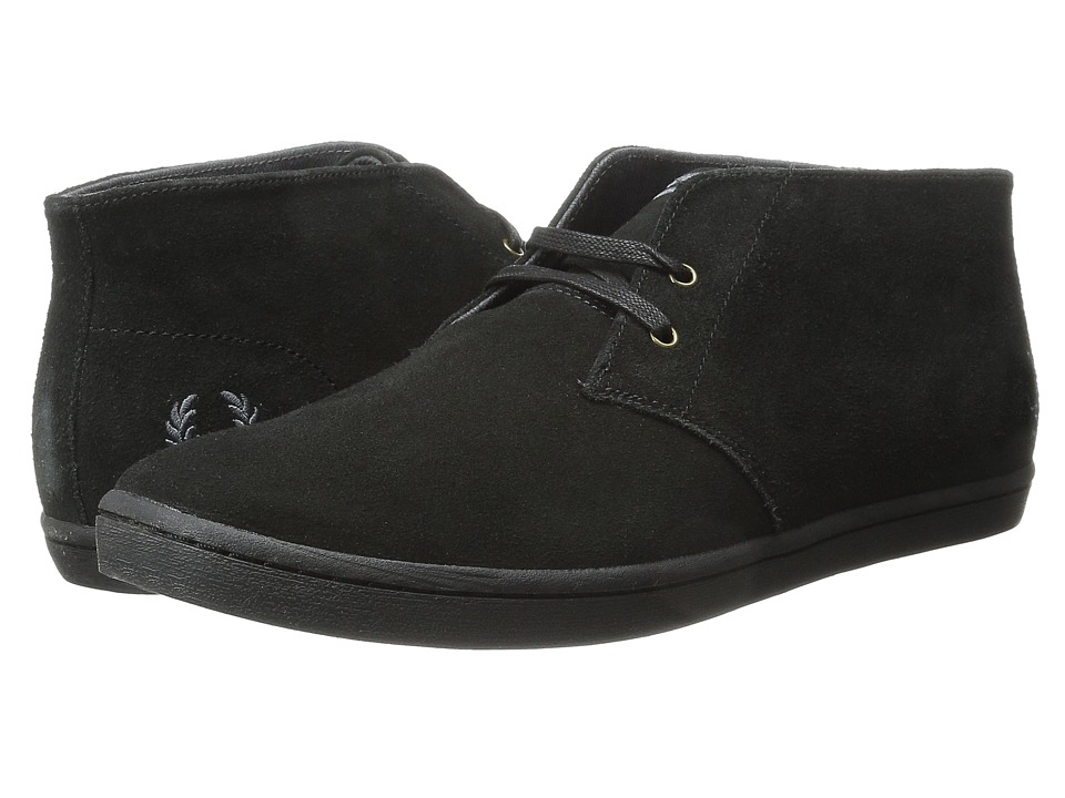 Fred Perry Byron Mid Suede (Black) Men's Lace up casual Shoes