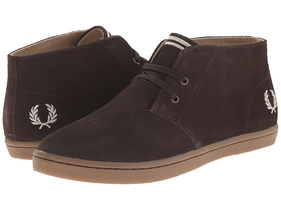 Fred Perry Byron Mid Suede Dark Chocolate/Sandstorm Mens Lace up casual Shoes