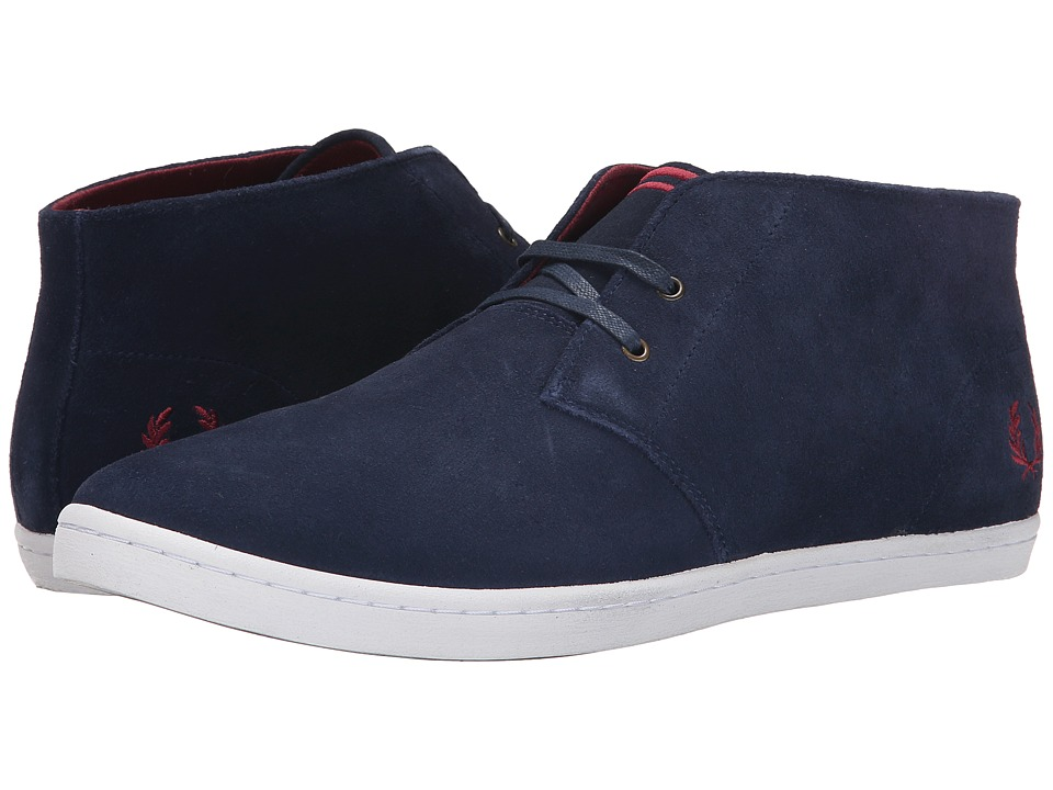 Fred Perry Byron Mid Suede Carbon Blue/Maroon Mens Lace up casual Shoes