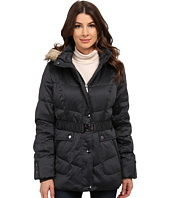 DKNY - Belted Short Fur Hooded Jacket