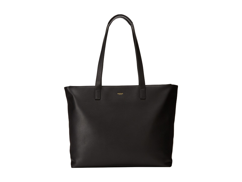KNOMO London - Maddox Laptop Leather Zip Tote (Black) Tote Handbags
