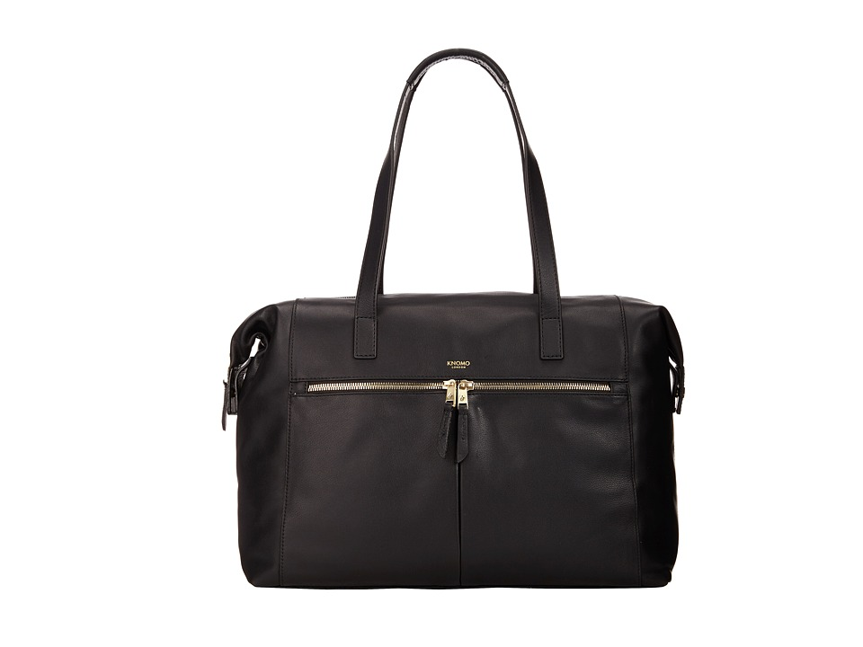 KNOMO London - Curzon Laptop Leather Shoulder Tote (Black) Tote Handbags