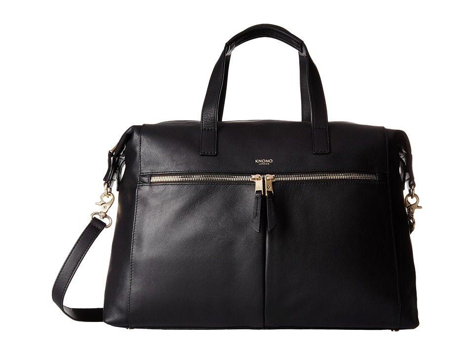 KNOMO London - Audley Leather Slim Laptop Tote (Black) Tote Handbags