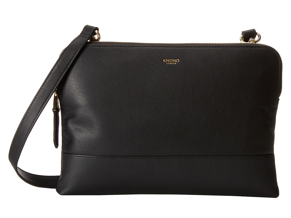 KNOMO London - Davies Leather Crossbody Bag (Black) Cross Body Handbags