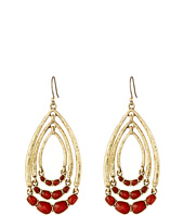 Lucky Brand - Gold and Red Multi Hoop Drop Earrings