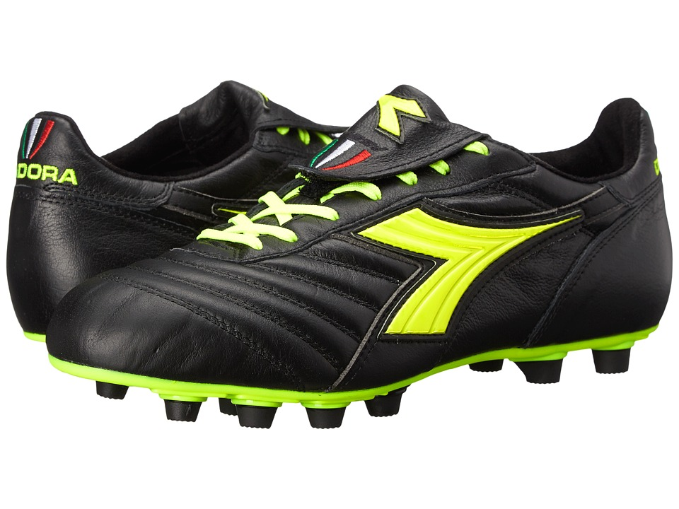 Diadora Brasil S.P.A. Black/Yellow Fluorescent Mens Soccer Shoes