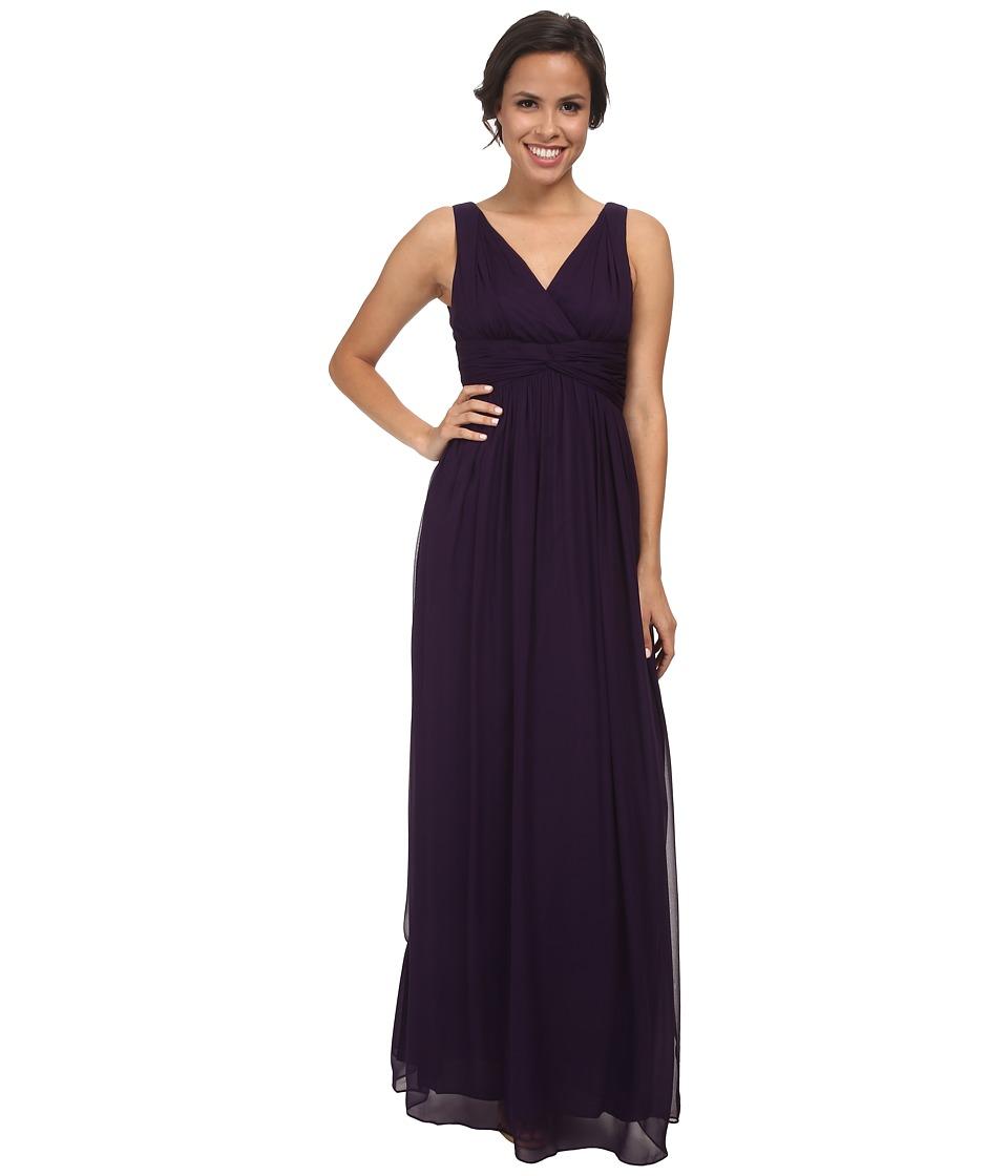 Donna Morgan Julie Long Bra Friendly Chiffon Dress (Amethyst) Women
