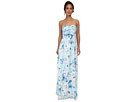 Donna Morgan Stephanie Long Printed Floral Chiffon Dress (Drop Multi)