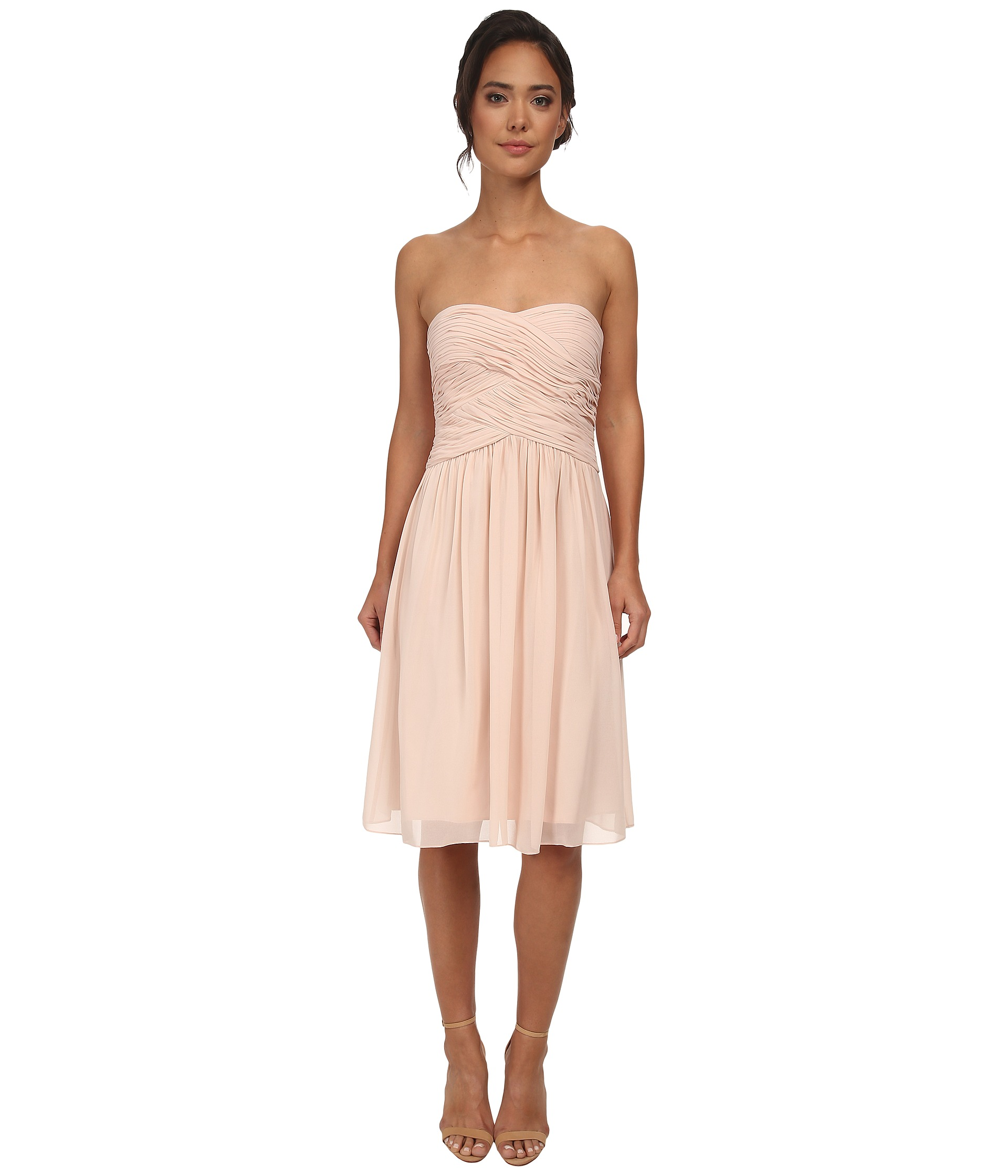 Donna Morgan Strapless Chiffon Gown Stephanie Blush- Clothing ...