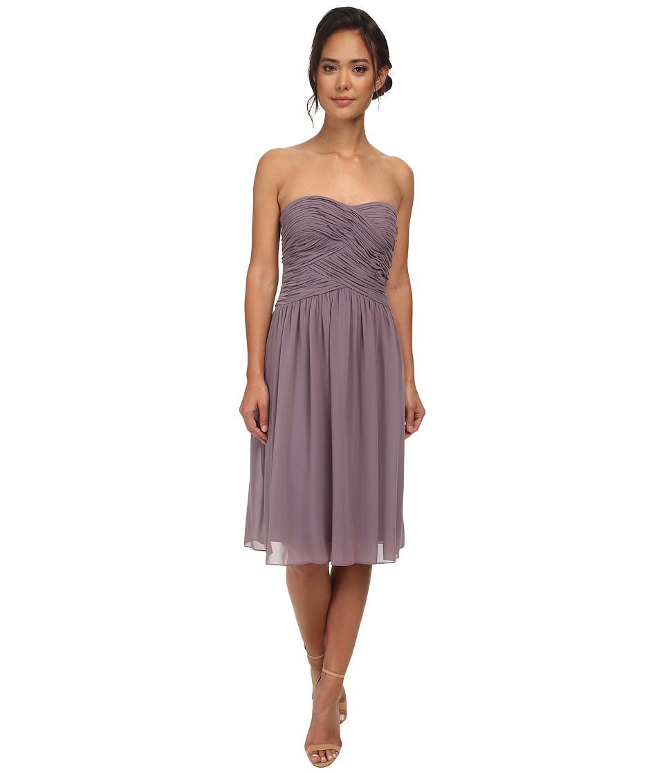 Donna Morgan Anne Short Strapless Chiffon Dress (Grey Ridge) Women