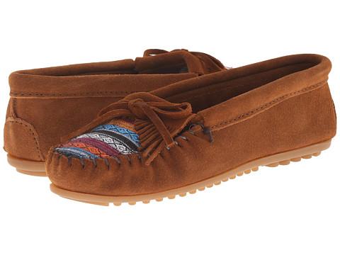 Minnetonka Kilty Suede Moc - Brown Suede/Arizona Fabric