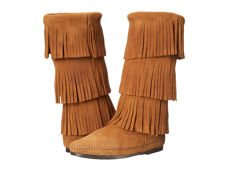 Minnetonka Calf Hi 3-Layer Fringe Boot (Taupe Suede) Women