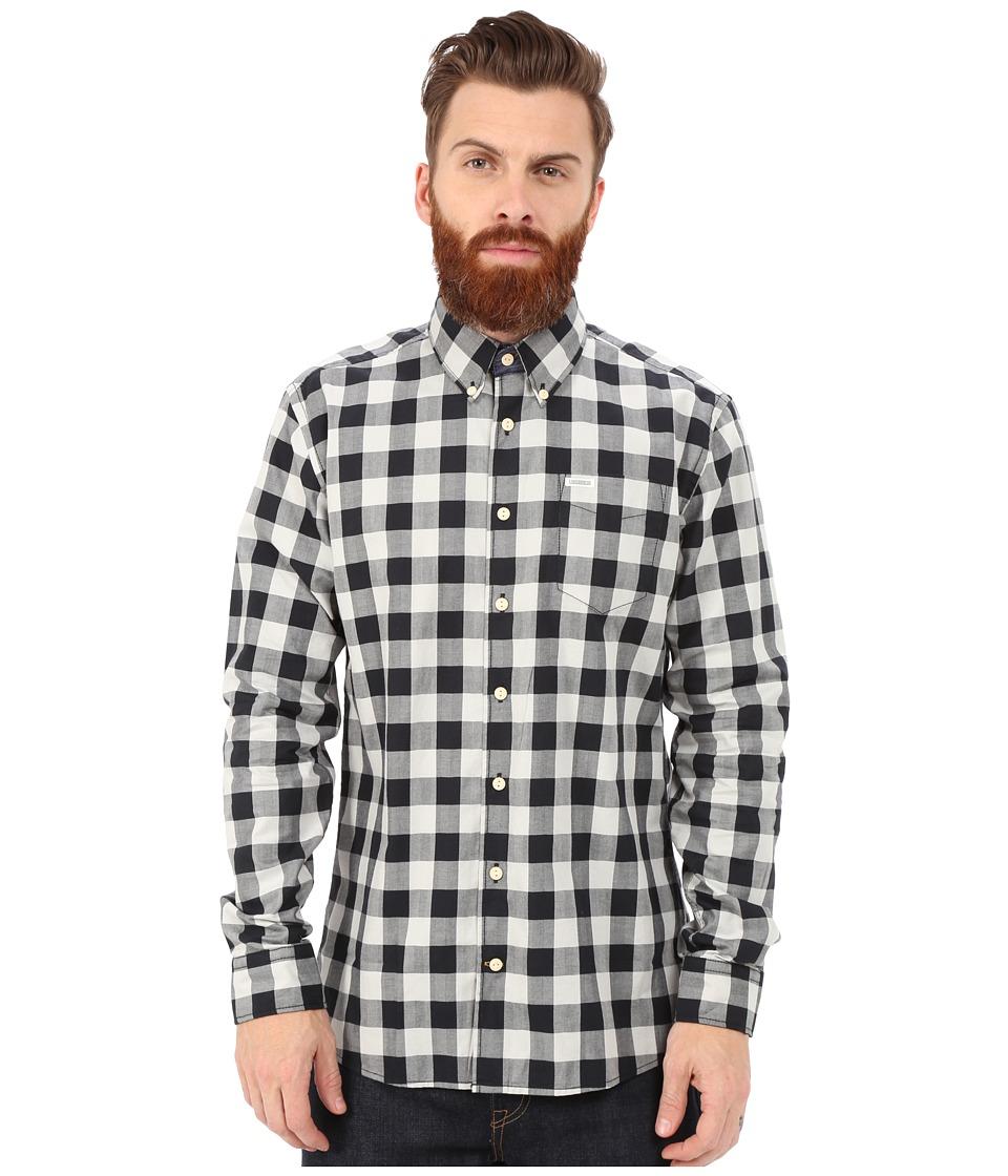 Lindbergh Check Shirt Long Sleeve Black Mens Clothing