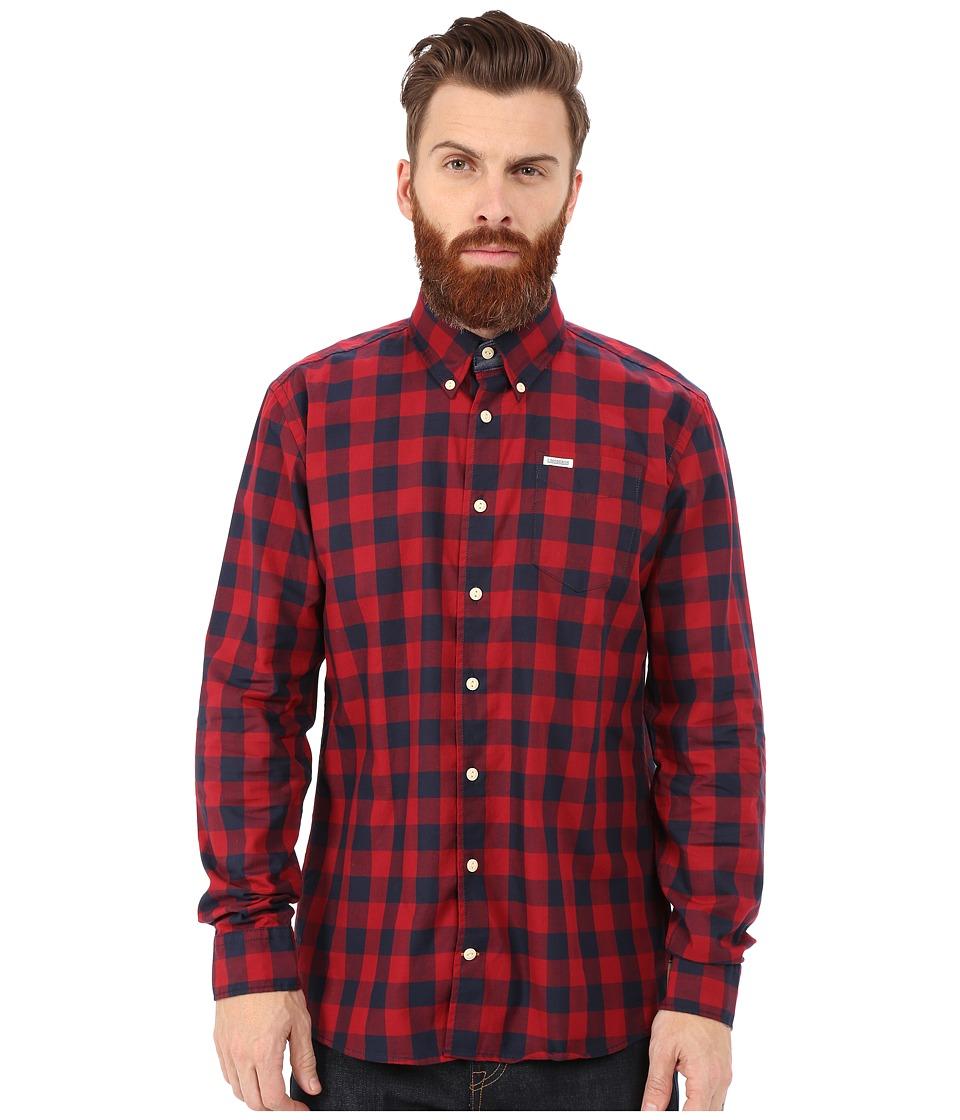 Lindbergh Check Shirt Long Sleeve Red Mens Clothing