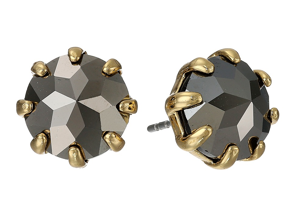 Rebecca Minkoff - Rhinestone Stud Earrings (Gold Toned/Hematite) Earring