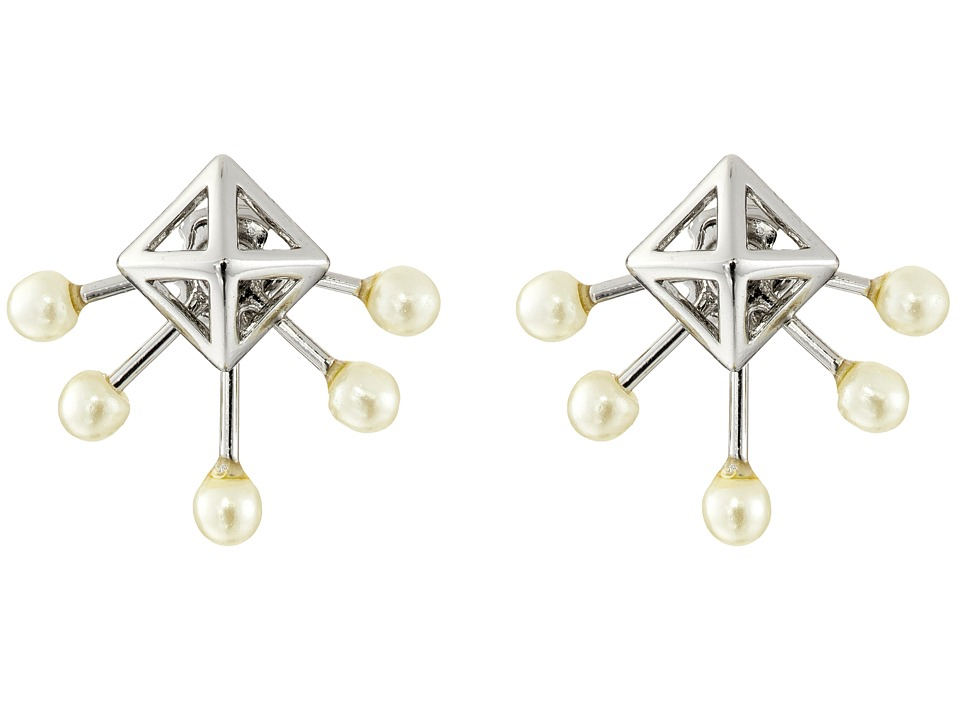 Rebecca Minkoff - Pyramid Fan Stud Earrings (Imitation Rhodium/Pearl) Earring