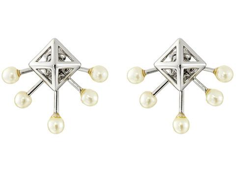 Rebecca Minkoff Pyramid Fan Stud Earrings - Imitation Rhodium/Pearl