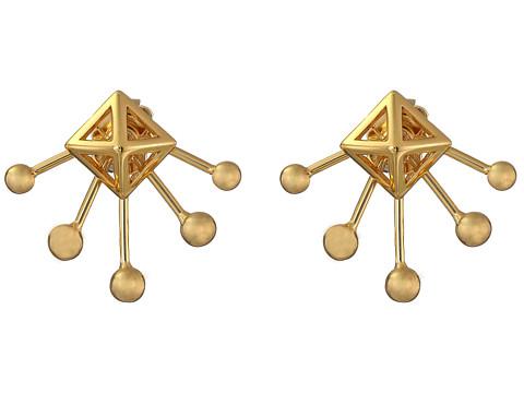 Rebecca Minkoff Pyramid Fan Stud Earrings - Gold Toned