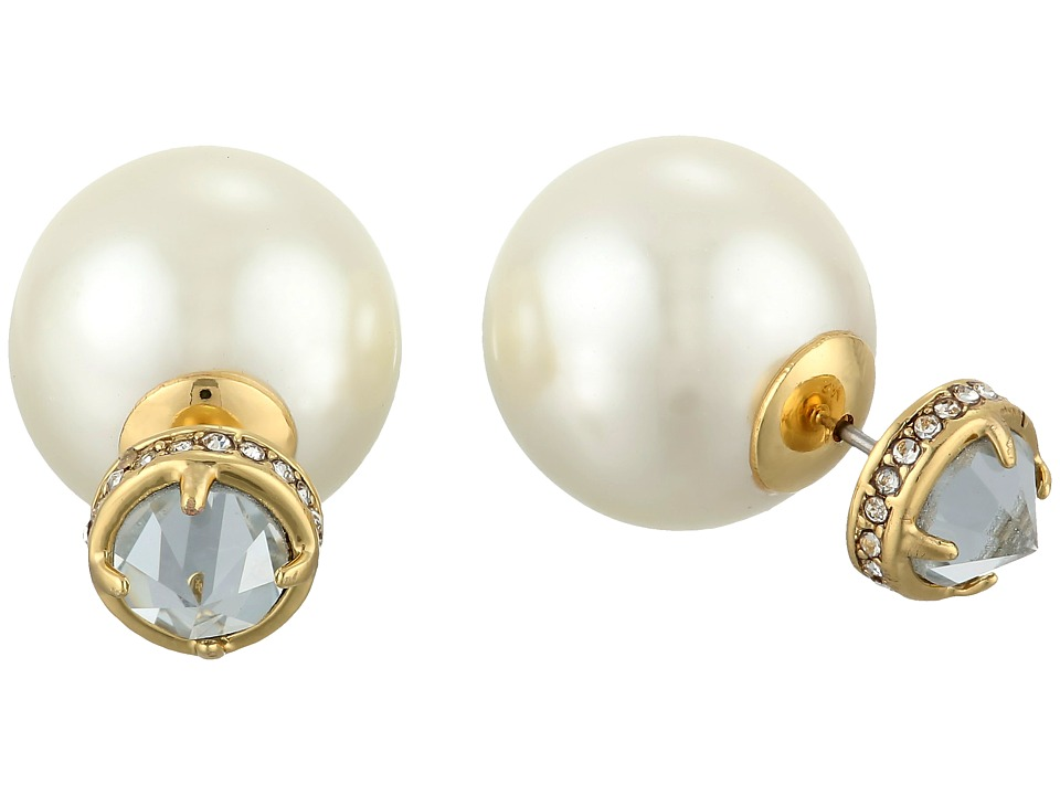 Rebecca Minkoff - Pearl Front Back Earrings (Gold Toned/Pearl) Earring