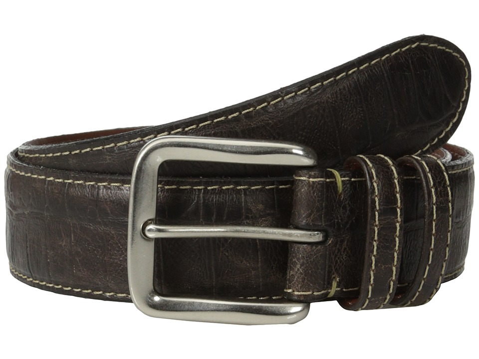 Torino Leather Co. - 40mm Croc Tail Embossed Calf w/ Nickel Buckle (Brown) Men
