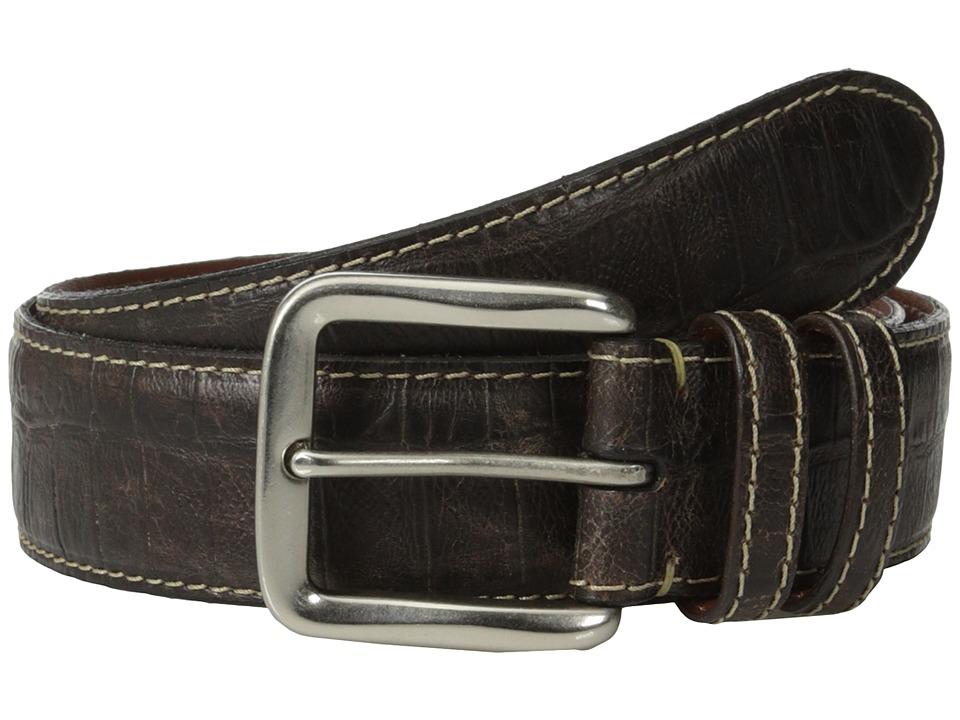 Torino Leather Co. - 40mm Croc Tail Embossed Calf w/ Nickel Buckle (Brown) Men