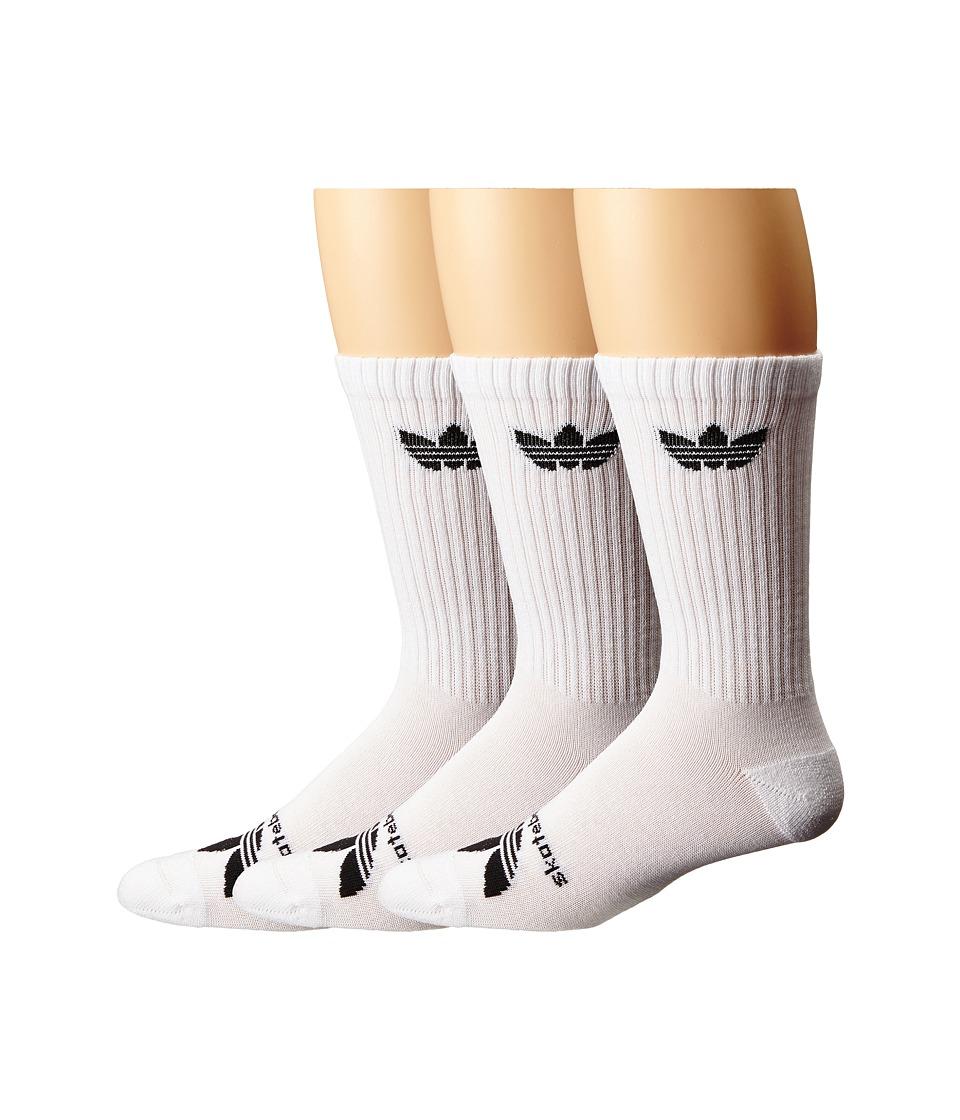 Image of adidas Skateboarding - AS Skateboarding Crew - 3-Pack (White/Black) Men's Crew Cut Socks Shoes