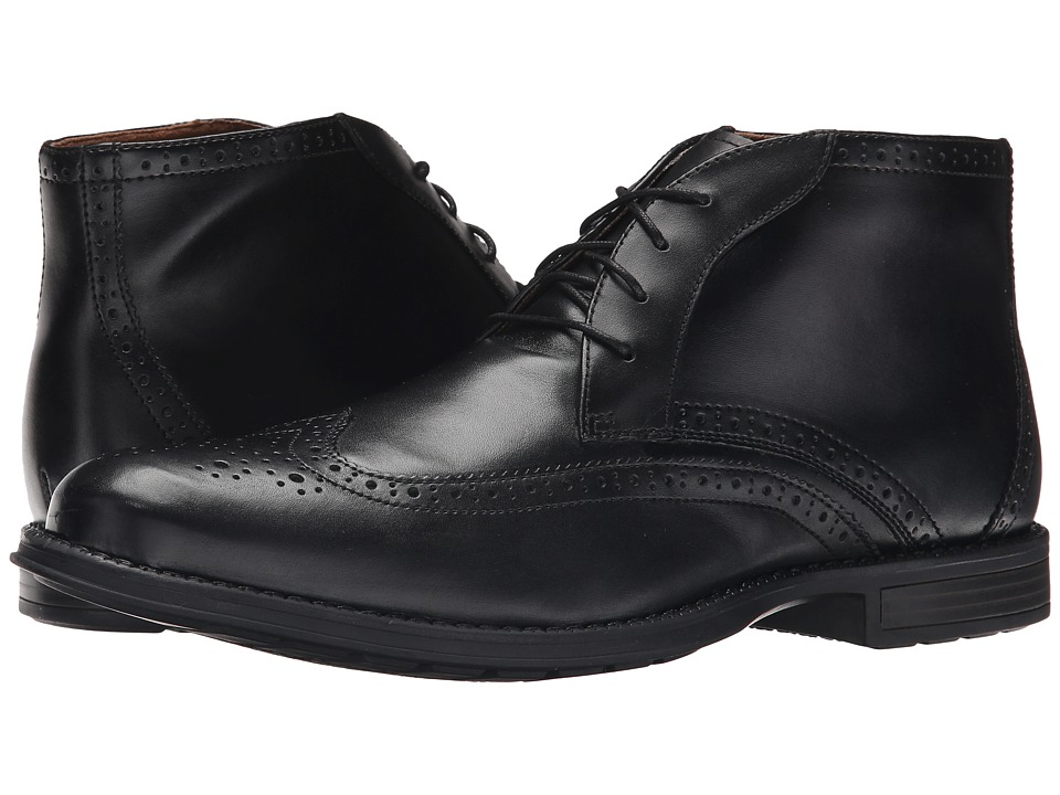 Nunn Bush Rawson Wing Tip Chukka (Black) Men